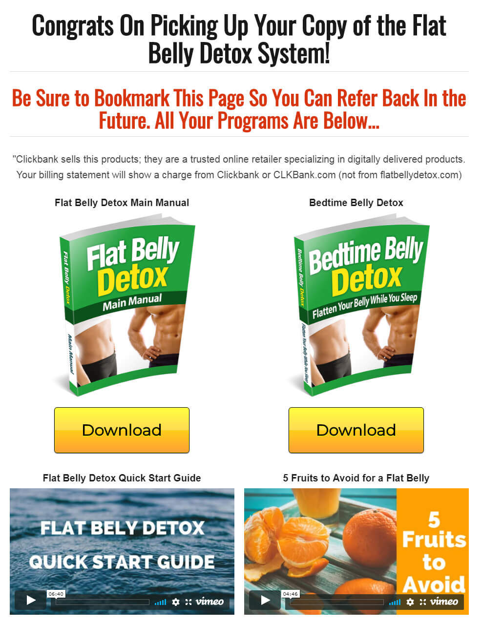 Flat Belly Detox Download Page