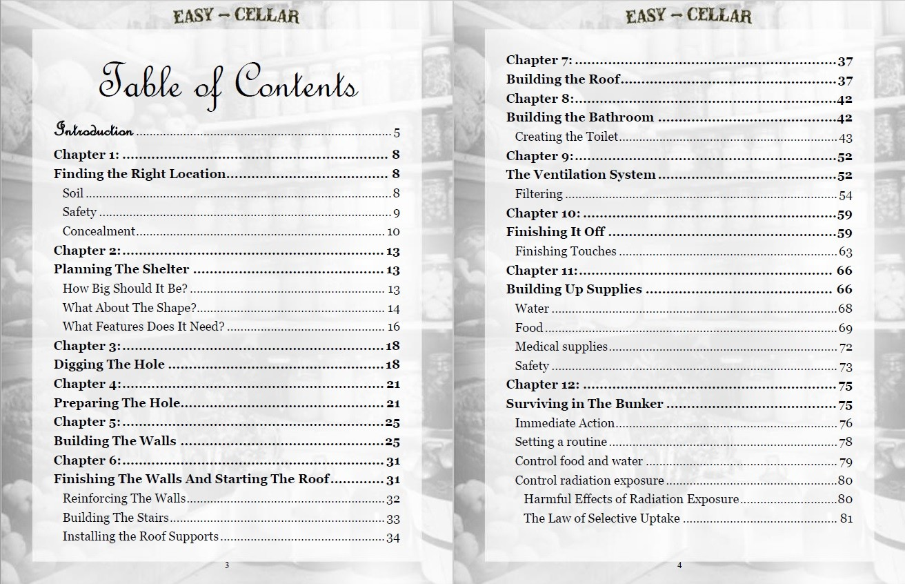 Easy Cellar Table of Contents