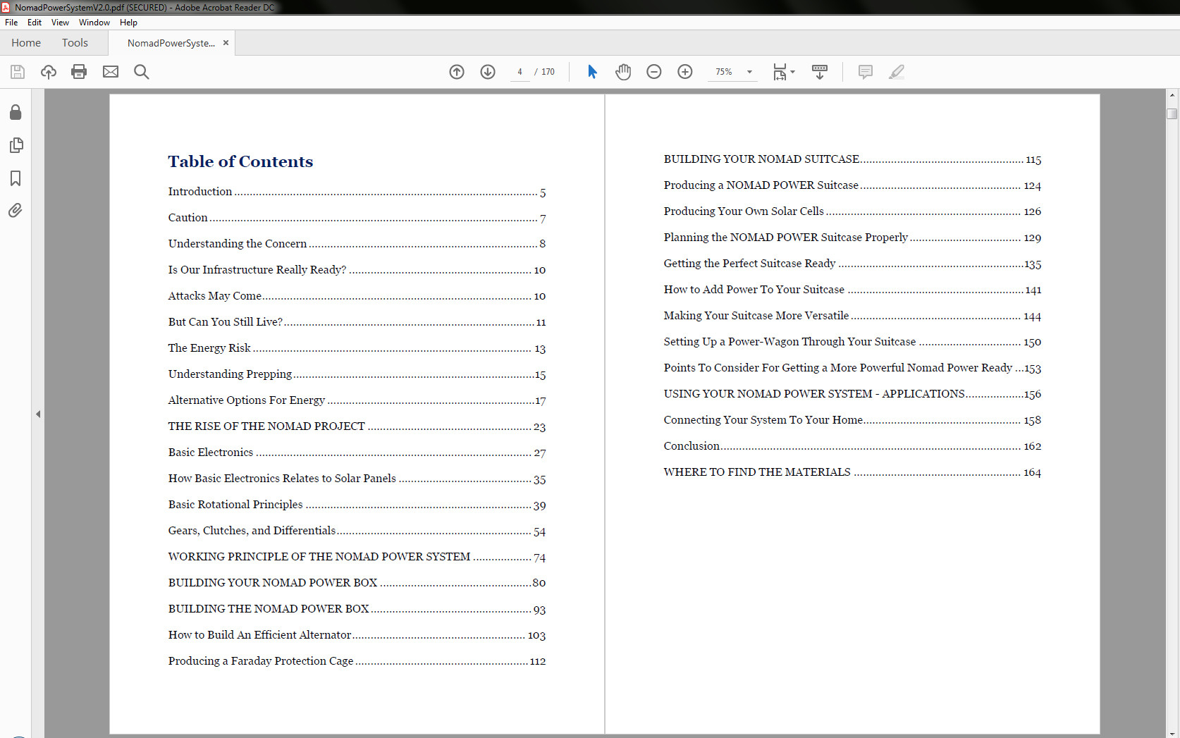 The Nomad Power System Table of Contents