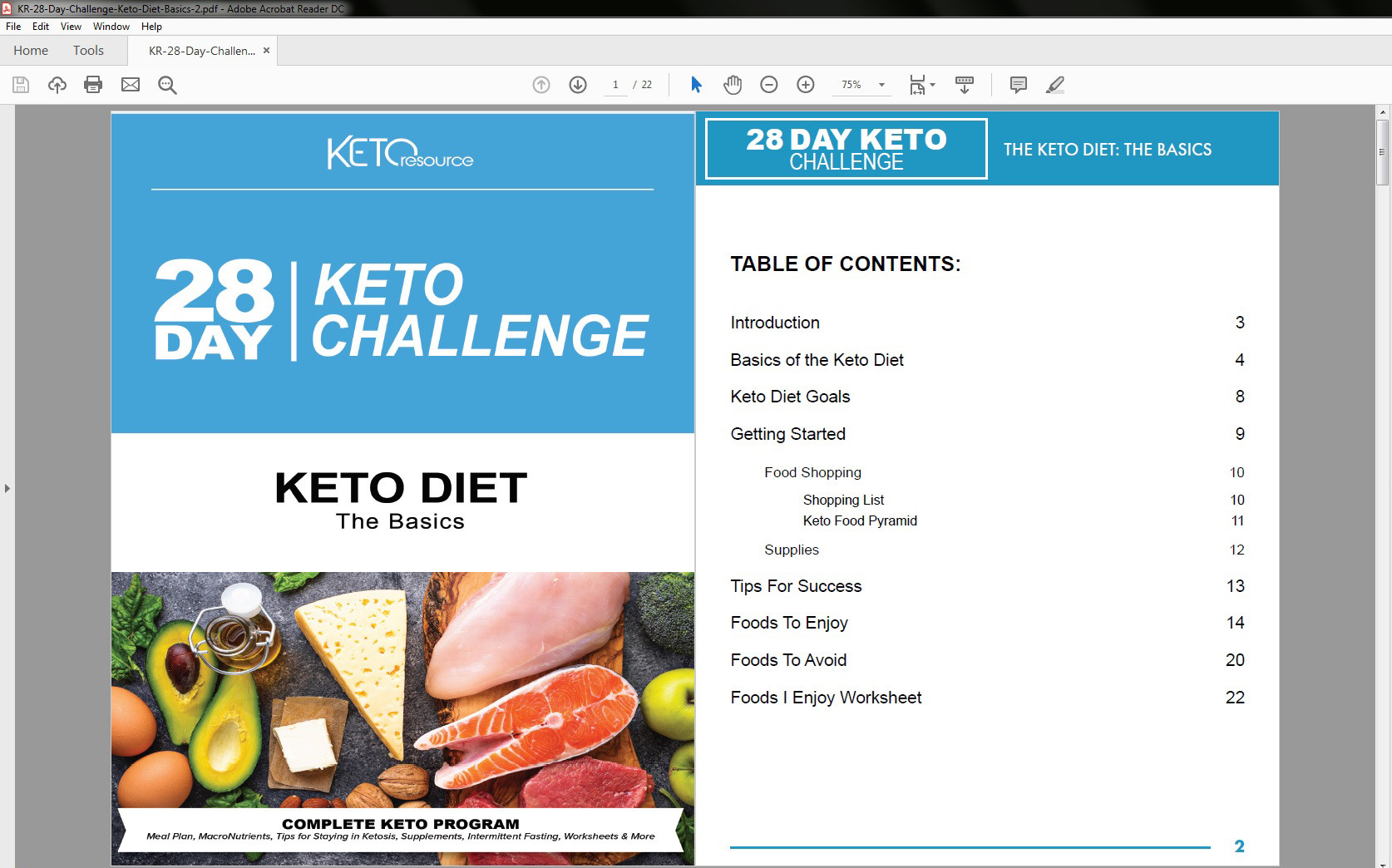 28-Day Keto Challenge Table of Contents