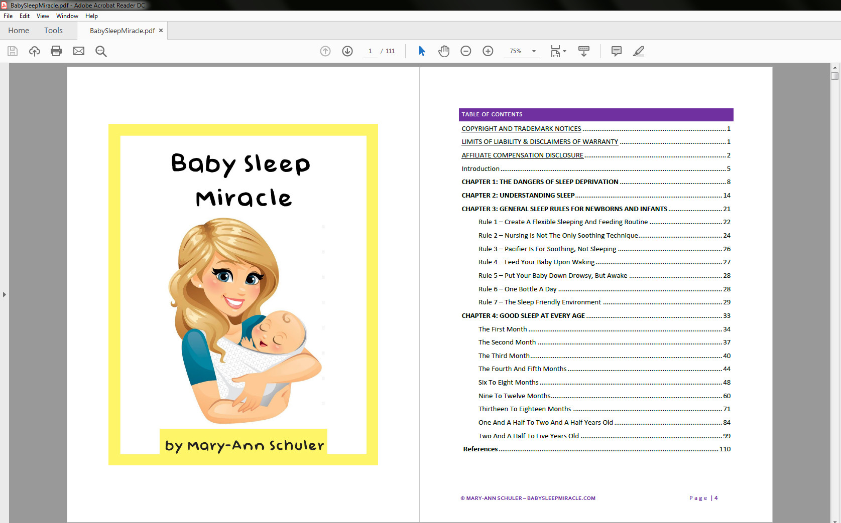 Baby Sleep Miracle table of contents