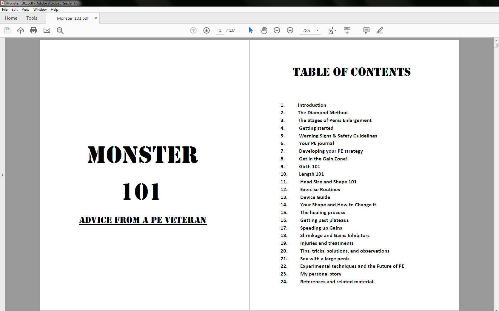 Legendary Enlargement's Monster 101 - Table of Contents