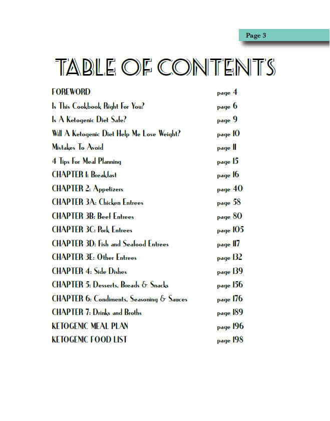 Essential Keto Cookbook Table of Contents