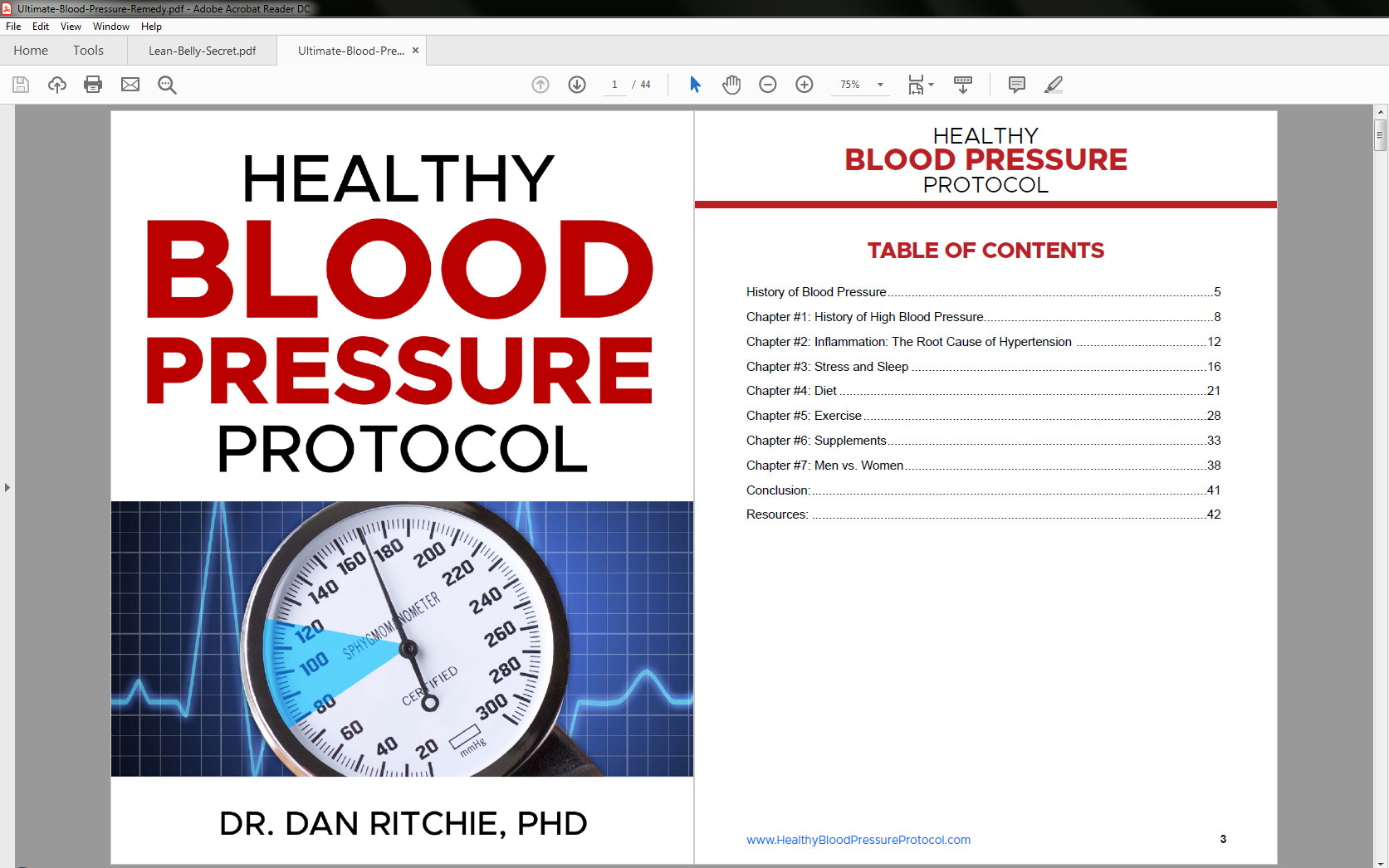 Healthy Blood Pressure Protocol Table of Contents